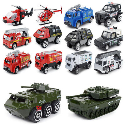6x Metal Kids Toys Car Helicopter SWAT ARMY Firefighter Vehicle Model Kids Gifs