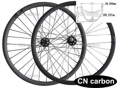 27.5inch MTB AM/DH carbon bike wheels 35mm wide x25.5mm Tubuless Thru Axle hub