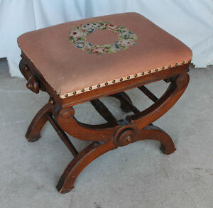 Image Is Loading Antique Victorian Walnut Adjustable Stool Piano Taboret  Chair