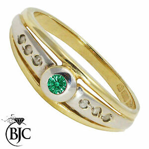 BJC-9-ct-Oro-amarillo-Esmeralda-amp-Diamante-Solitario-talla-N