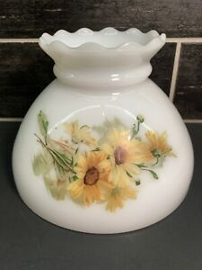 Vtg-White-Milk-Glass-Lamp-Shade-Ruffle-Top-Yellow-Flower-GWTW-8-034-Fitter-OD