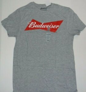 Budweiser-Bowtie-Logo-Beer-Gray-T-Shirt-New