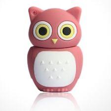 CHIAVETTA USB 16 GB Gufo gufo reale Gioielli Ciondolo Civetta Gufo Owl Chouette PINK ROSA