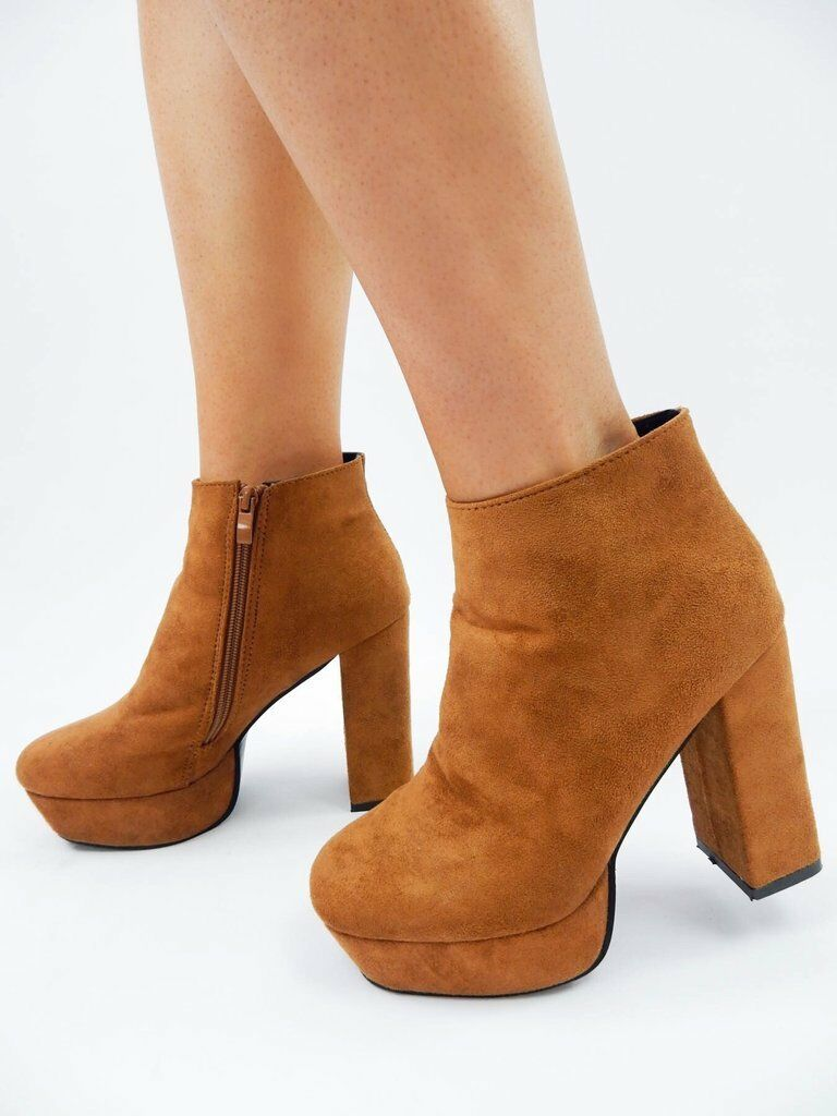 BROWN ANKLE HEEL BOOTS Suede Like Block Platform High Party shoes Ladies Club
