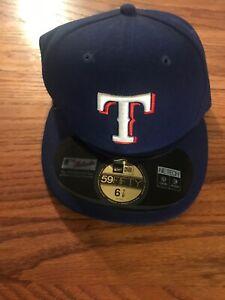 Texas-Rangers-MLB-Baseball-New-Era-Brand-59Fifty-Fitted-Hat-EUC-Cap-Size-6-7-8