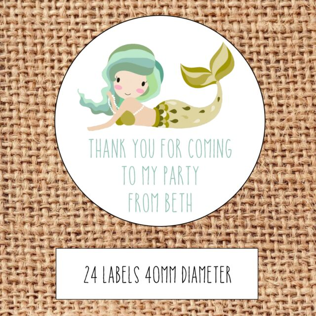12 X LARGE Personalised Mermaid Birthday Stickers NO PARTY BOXES