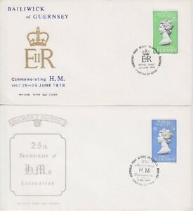 Guerney FDC 163, 164 auf 2 FDCs, gest. 1978, Royal Visit, first day cover - Kerpen, Deutschland - Guerney FDC 163, 164 auf 2 FDCs, gest. 1978, Royal Visit, first day cover - Kerpen, Deutschland
