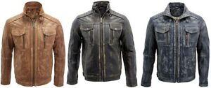 Hombre-Vintage-Negro-azul-VINTAGE-amp-Vintage-Marron-100-PIEL-CHAQUETA-BIKER