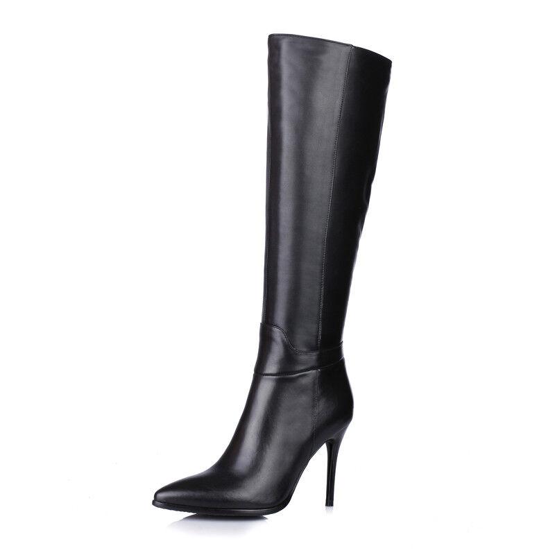 Elissara donna Leather Zip Pointed Toe Knee High stivali scarpe AU Plus Dimensione 2.5-7