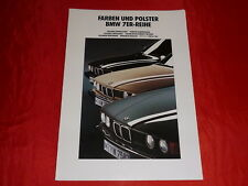 BMW 7er E32 Farben + Polster Farbkarte Prospekt von 1991