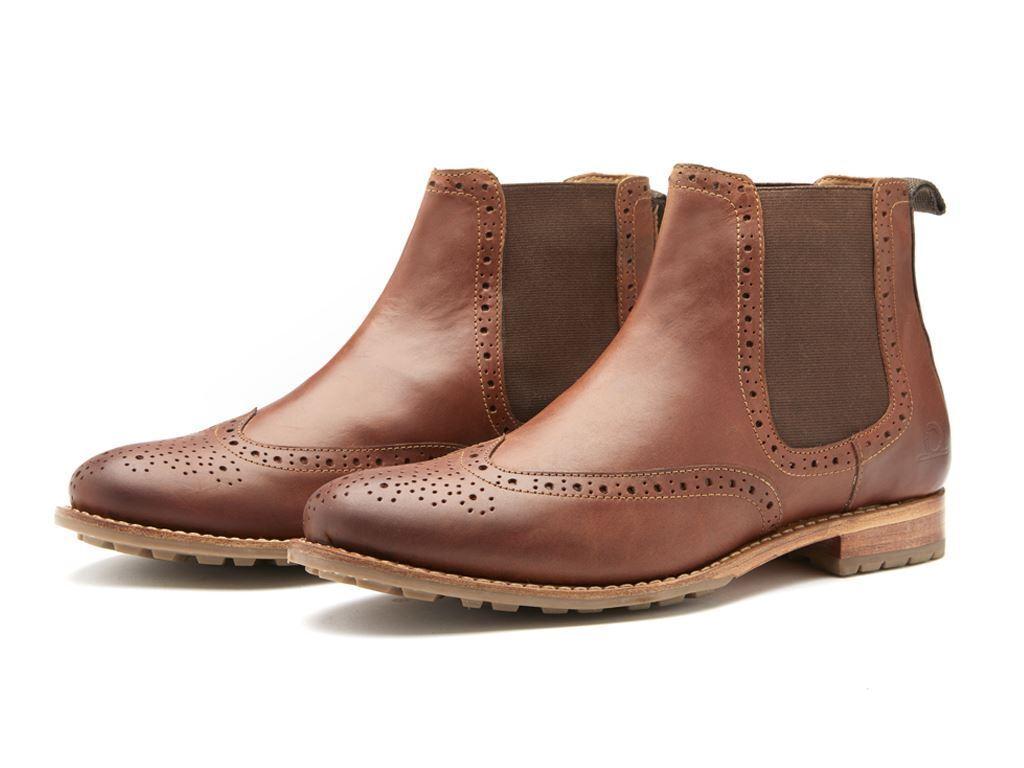 Chatham Goodyear Welted para hombre Premium De Cuero Chelsea botas (Dudley) en Bronceado Oscuro