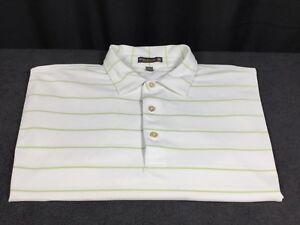 974f17a5da71 ⛳ Peter Millar Men s XL Golf Polo Shirt White Green Stripe Summer ...