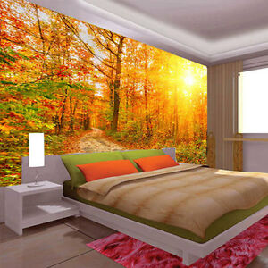 Fall foliage footpath autumn leave 3d full wall mural for Autumn wall mural