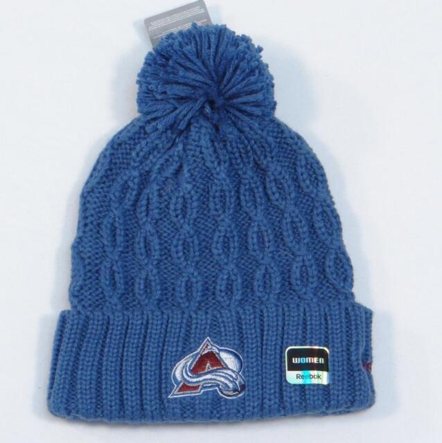 165641489f6d35 Reebok Avalanche NHL Blue Cable Knit Cuff Pom Pom Beanie Womans One Size NWT
