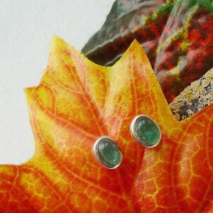 Apatit-gruen-oval-schlicht-modern-Ohrringe-Ohrstecker-925-Sterling-Silber-neu