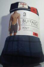 Buffalo Mens 3 Pack Knit Boxers Blues & Plaid  Medium 32-34 Cotton Best Deal!!