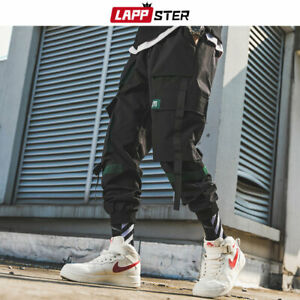 Pantala N Cargo Para Hombre Cintas Ropa De Calle Lappster 2019 Otoa O Hip Hop Pantalones De Cha Ndal Ebay