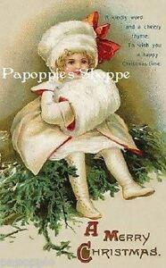 Victorian-Christmas-Fabric-Block-Vintage-Postcard