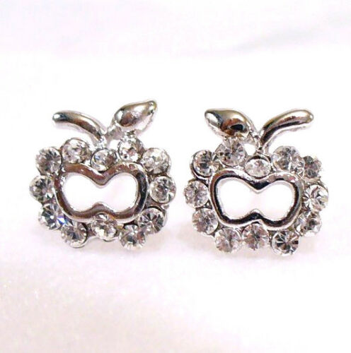 Clear Apple Crystal White Gold Plated Girl Xmas Birthday stud Earrings UK