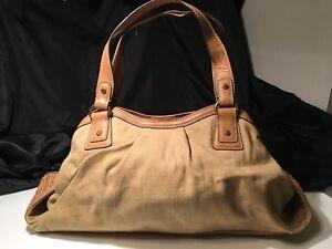 Image Is Loading Fossil Modern Vintage Canvas Color Large Handbag Wicker