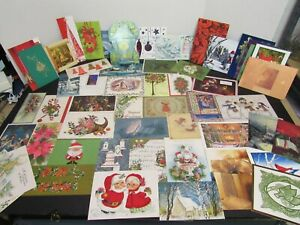 Vintage-Greeting-Card-Lot-of-60-Christmas-Card-1950-039-s-1970-039-s-Paper-Ephemera
