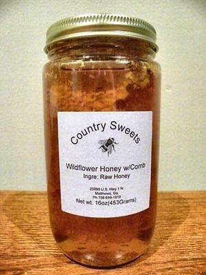 16 Oz Raw Pure Georgia Wildflower Honey With Honey Comb