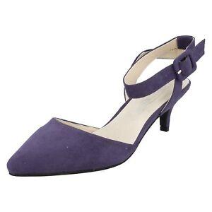 Spot-On-Donna-Viola-Camoscio-Sintetico-Scarpe-Col-Tacco-F9R676-Numeri-UK-3x8
