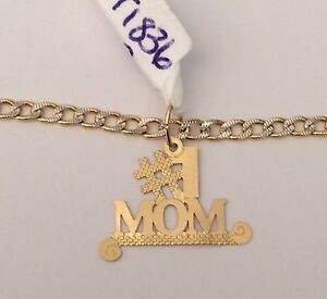 real 14k yellow gold mama mom mother maa 1 pendant hollow 22 inch