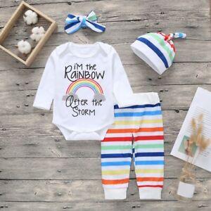 4pcs Baby Newborn Boy Girl Rainbow Clothes Tops Romper Long Pants Hat Outfits
