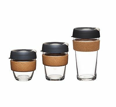 KeepCup Brew Glass Coffee Cup Tea Drink Reusable New Cork 3 sizes 8oz 12oz 16oz