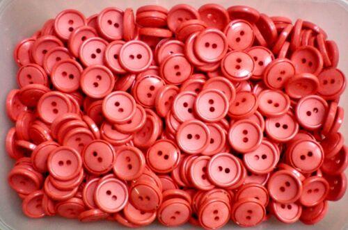 16mm 26L Coral Naranja 2 agujero chatarra de reserva Botón Botones de costura de artesanía J24