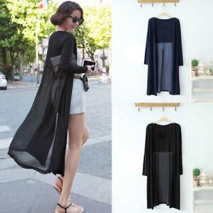 fe23424391a88 Women Cover Up Boho Beach Chiffon Long Cardigan Kimono Coat Top ...