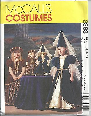 McCalls Sewing Pattern # 2383 Girls Medieval Costume w/ Doll Dress Sizes 3-4-5