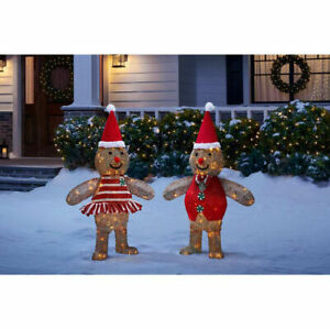 OUTDOOR GINGERBREAD MAN GIRL Christmas Yard Decoration ...