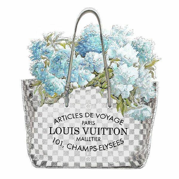 Madeline Blake  Aqua Bouquet Stampa su Tela con Telaio Borsa Fiori Moda C-Brand