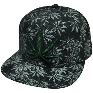 2c5ee831ef5 Marijuana Leaf Flat Bill Snapback Hat Cap Black Green Cannabis High ...