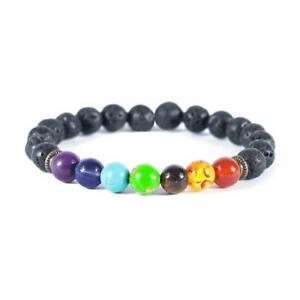 Bracelet Chakra Healing Beads Natural Lava Stone 8mm Reiki 7 Gemstone Beaded