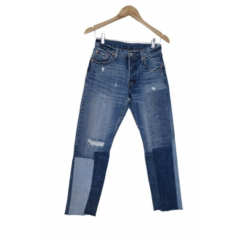 Levis Anthropologie Womens 501 Cropped Jeans Patc… - image 3