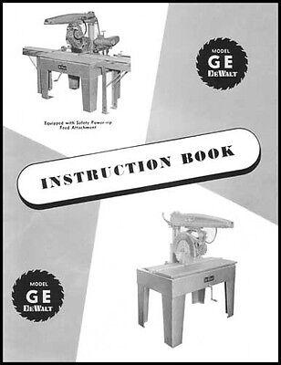 DeWalt Model GE Manual Radial Arm Saw Instructions