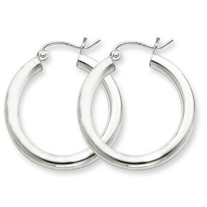 925-Sterling-Silver-Rhodium-Plated-3mm-x-25mm-Round-Polished-Hoop-Earrings