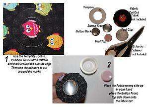 50-Self-Cover-Button-23mm-FLAT-BACK-Start-Kit-Tool-Temp-amp-Instruct-FlatBack