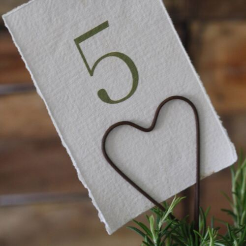1 x Rustic Brown Heart Table Number Holder Wedding Decorations