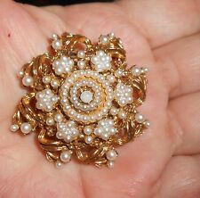 Lovely Vintage Florenza Signed Dome Shaped Seed Pearls Gold Filigree Brooch Pin