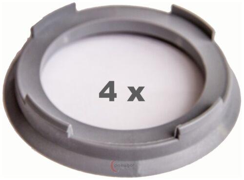 4 Piezas Anillas de centrado 70.4 mm a 54.1 mm gris claro//light grey