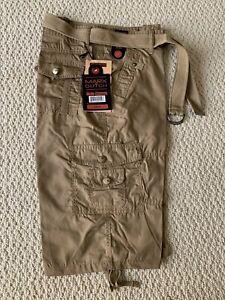 NWT Men/'s Marx /& Dutch Black Solid Cargo Pocket Shorts Size 34 36 ONLY