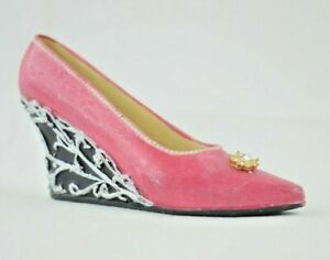 """Miniature 4.5"""" Pink & Black Wedge Shoe with Rhinestone Resin Collectible Figure"""