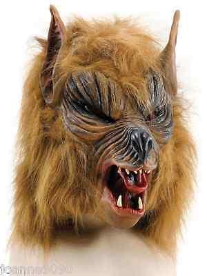 Halloween Brown Hairy Scary Werewolf She Wolf Fancy Dress Costume Overhead Mask