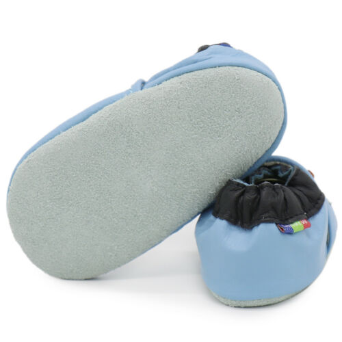 carozoo cow light blue 3-4y soft sole leather baby shoes