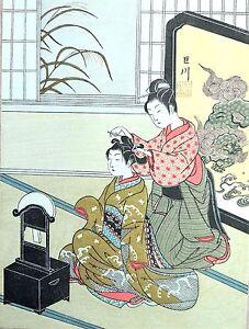 HARUNOBU-Bijin-ukiyo-e-ESTAMPE-JAPONAISE-AUTHENTIQUE-original-japan-woodblock