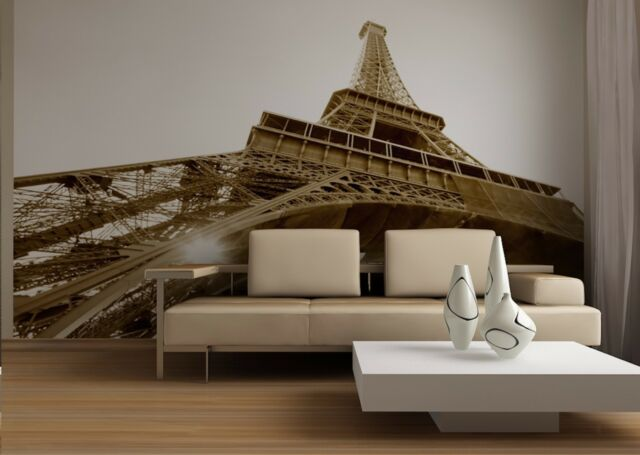 Eiffel Tower Paris City Photo Wallpaper Wall Mural Black and White